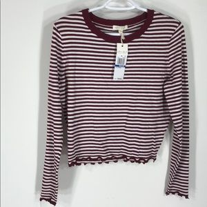Maroon and white striped longsleeve shirt